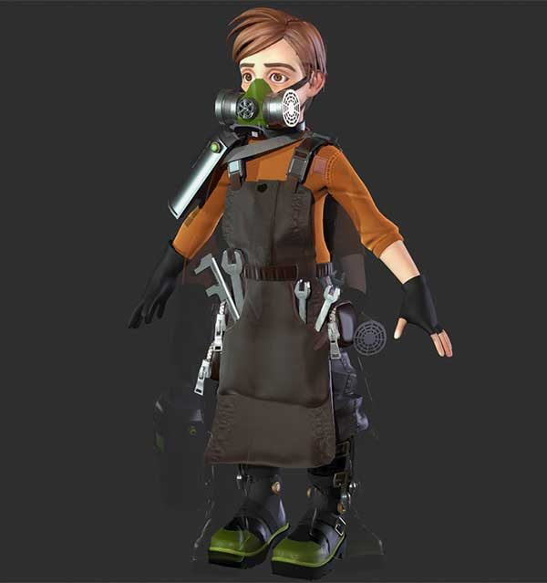 Anastasia Vakina - Image of a 3D character wearing an apron and gas mask