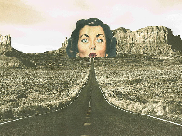 Collage image of a ladies face at the end of a mountain