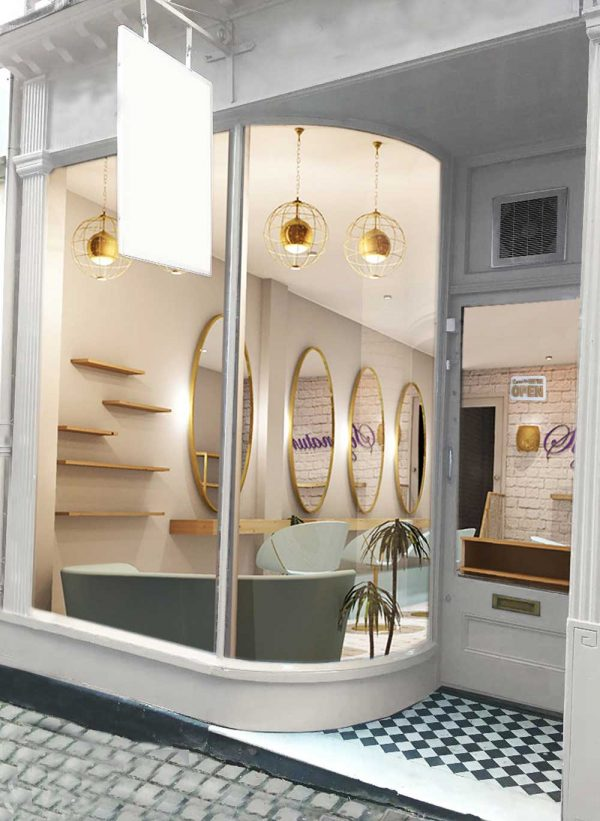 Isabella Elsworth - BA Interior Design work by Isabelle Elsworth showing a render of a shop front/hairdressers