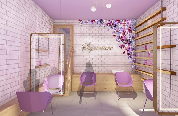 Leah Walker - BA Interior Design student work showing the inside of a hair salon named 'Signature'. Purple chairs, purple ceiling and brick walls with flowers on the wall by Leah Walker.