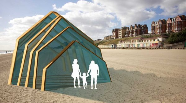 Leonor Peixoto - BA Interior Design student work by Leonor Peixoto showing a large triangular structure on the beach.
