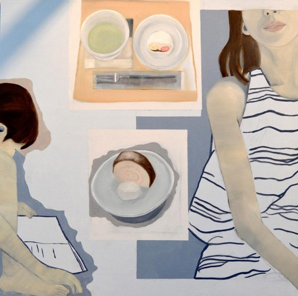 - painting by Jessica Burges depicts multiple paintings combined into one pieces showing a woman in a striped white top, a plate of food, a meal laid out on a mat and a small child reading a book
