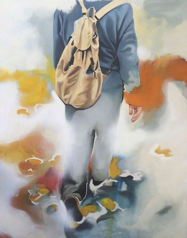 - painting by Joss Minter shows a human walking with a loose tan backpack and blue clothes walking through white mist and yellow and orange colours mixed in