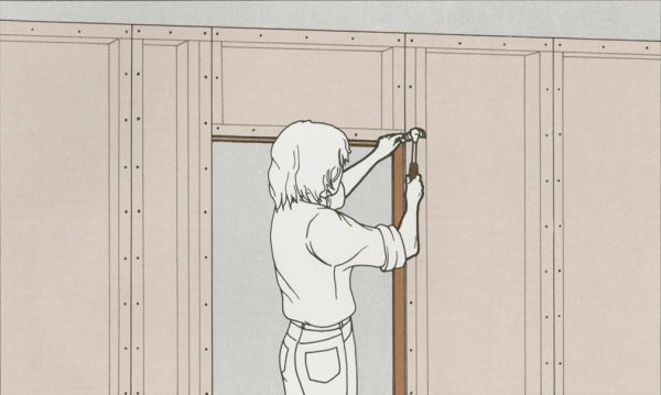 - design by Lily Troup shows a design manual style illustration in light colours with a person hammering a nail into a wall doorway