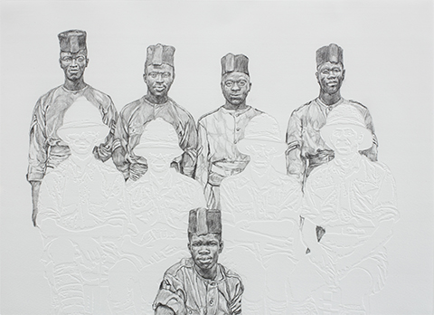 Barbara Walker, drawing of men from the Jerwood Drawing Prize