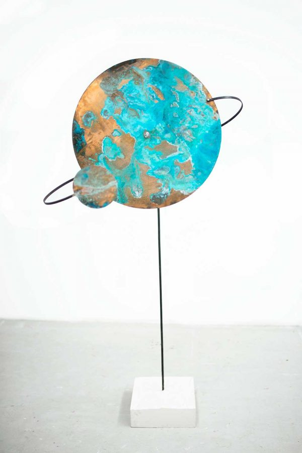 Beth Poulter - Image of a bronze sculpture of a planet designed by Beth Poulter