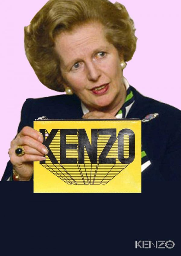 Beth Poulter - Image of Margaret Thatcher holding a handbag with the fashion brand Kenzo printed on the bag