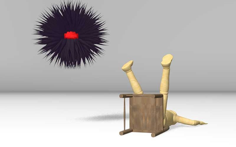 2D digital illustration of a charcater who has fallen from a chair and is on the floow and a large purple orb hovers over the chracater, designed by NUA student Elliot Stronza