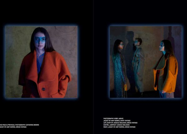 Photography: Catherine Brown, Jacket: Amy Norris, Dress Vintage. Image Right – Photography: Kirby Jarvis, Jacket: Amy Norris, Shirt Vintage.  BA (Hons) Fashion Communication and Promotion - Image of two fashion portraits featuring models wearing bright clothing and blue make up mounted on a black background