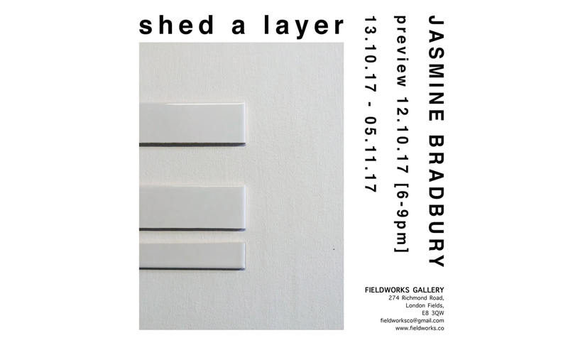 poster for Shed a Layer shows white background with image of grey rectangle with three smaller perpendicular rectangles on one side and a title above and address to the lower right with sideways information on the right