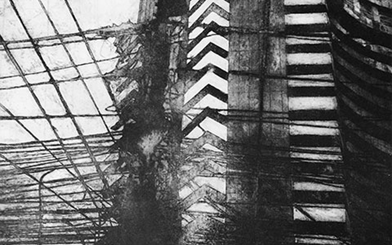 image shows black and white etching of large building-like structure with lighter strips through the black and long black lines extruding out from the lower levels
