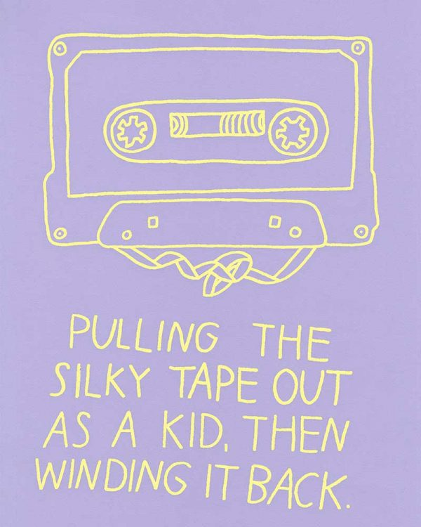 Joskaude Pakalkaite - Digital illustration of an outlined tape cassette with the type created by MA Communication Design student Joskaude Pakalkaite