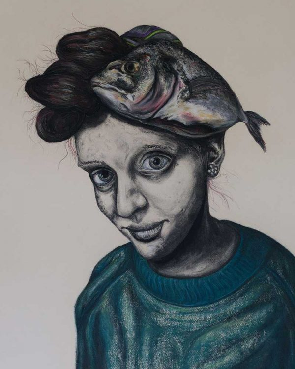 Jake Holmes - Hand illustration of a woman with a fish on her head looking straight forward with a wry smile