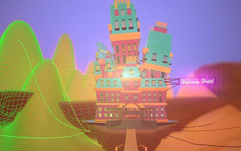 Digital image of a brightly coloured hotel called Highway Hotel designed by NUA Animation student Jordan Albon