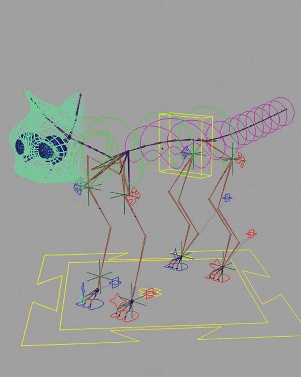 Kerrie Shreeve - Image of a wireframe cat character within 3D motion software created by NUA student Kerrie Shreeve