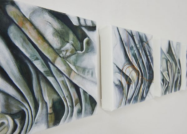 Jane Weinle - Image of three paintings of creased material