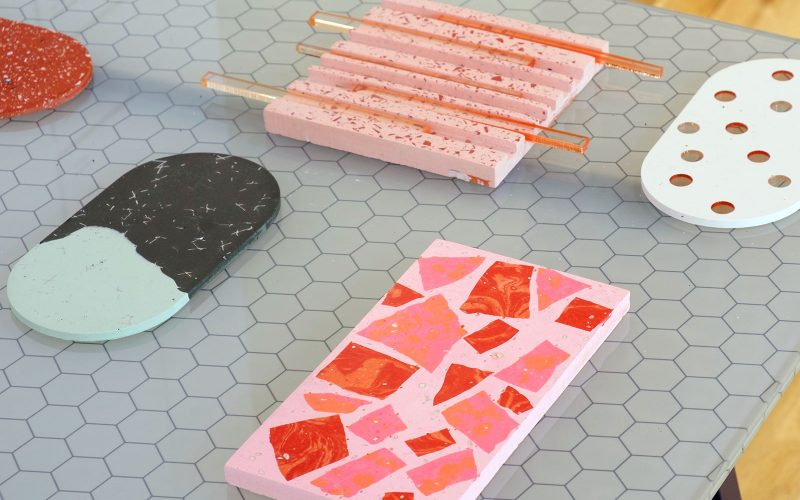 Pink MA Textile Design stones and surface design by Victoria Paulley displayed in the MA Degree Show at Norwich University of the Arts