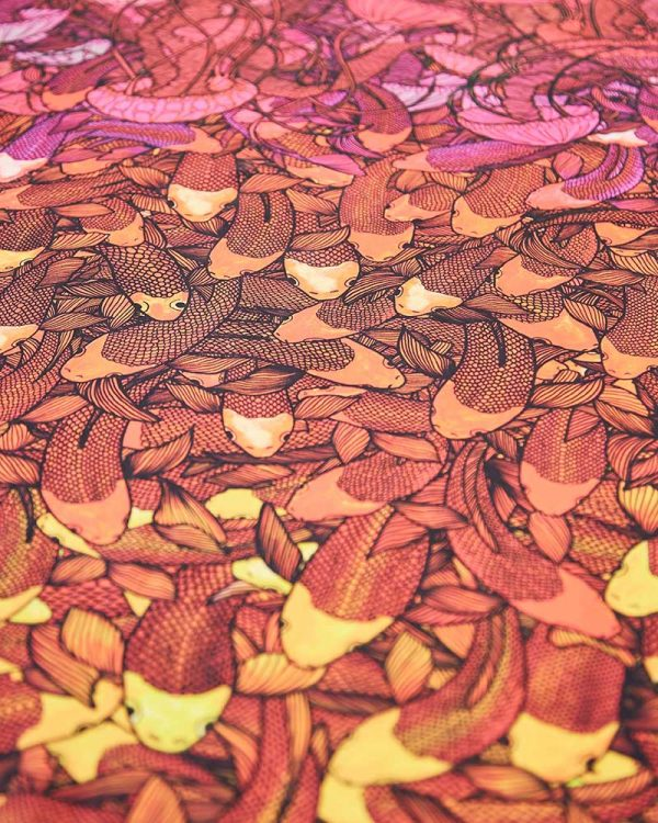 Marina Bijelic - Repeat pattern illustration of fish printed orange, yellow and pink
