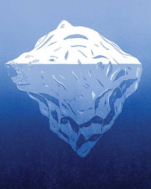 Mark Johnson - Image of a illustration of a polar bear's head with an iceberg underneath it, on a bright blue background