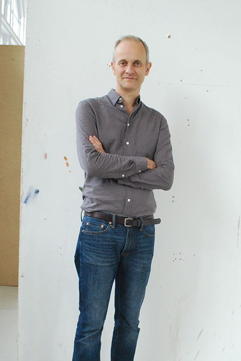 Portrait of Fine Art academic Mark Wilsher in the studios at Norwich University of the Arts