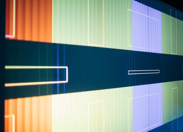 Marian Saunders - Image of blocks of colour on a large screen