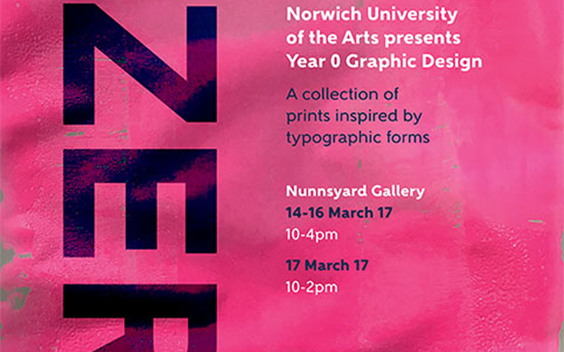 poster design shows faded pink background with large typographic letters and event information