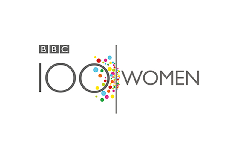 BBC logo for 100 women shows large 100 with colourful circles scattered next to a black line with women written on the right hand side
