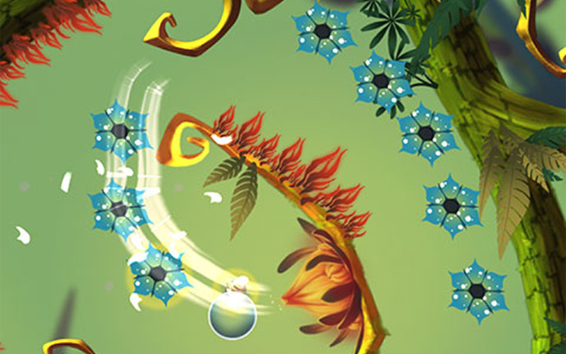 screenshot of mobile game Baum shows plant walls with collectable flowers and a bright swipe line controlling a floating sphere