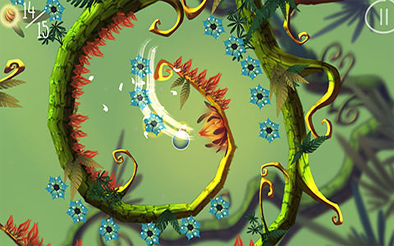 screenshot of mobile game Baum showing bright line controlling a blue sphere with plant tendrils creating walls with collectable flowers