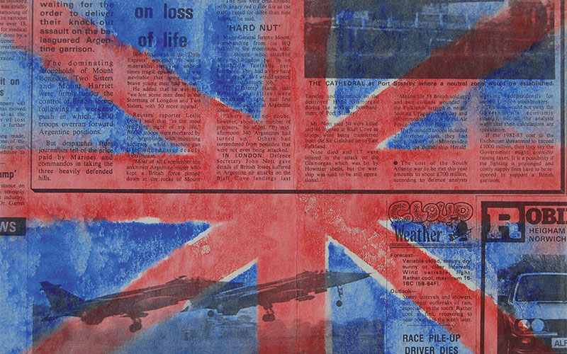piece features newspaper print with british flag painted over it