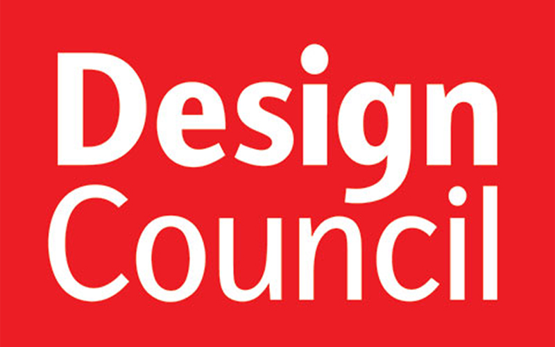 Logo for the Design Council has red background with bold title