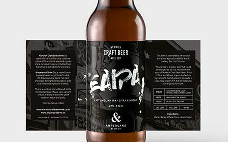 label design for EAIPA beer has black background with slightly opaque design with urban graffiti design and title in faded white text