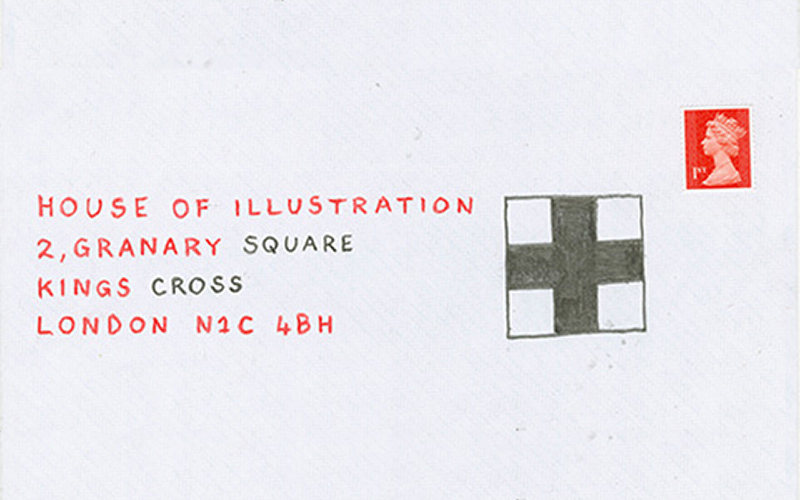 envelope design shoes paper effect background with simple written address for the House of Illustration with a pencil plus next to it and a first class stamp
