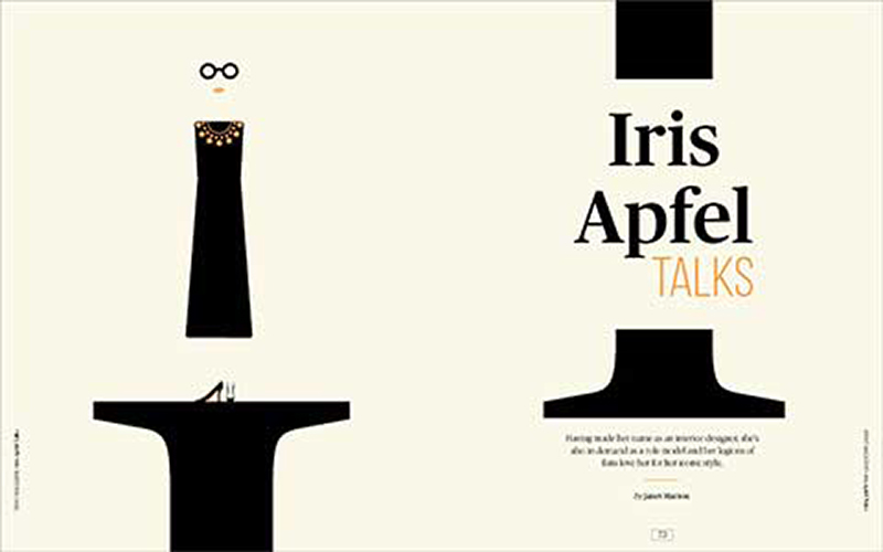student book cover design shows creme background with black illustrations of a small table and a simple humanoid dress figure above with glasses and lips and a split illustration on the right with the title Iris Apfel Talks