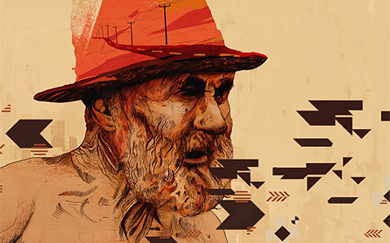 student design features gritty older man in red hat drawn with dark lines with tints of red and dark and geometric shapes overlayed