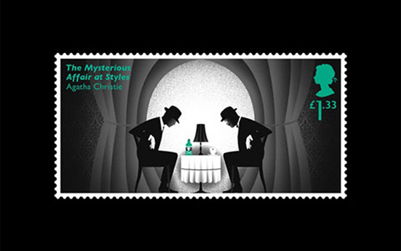 student stamp design inspired by Agatha Christie shows two black and white figures in bowler hats leaning over a short table with a bottle and a cup