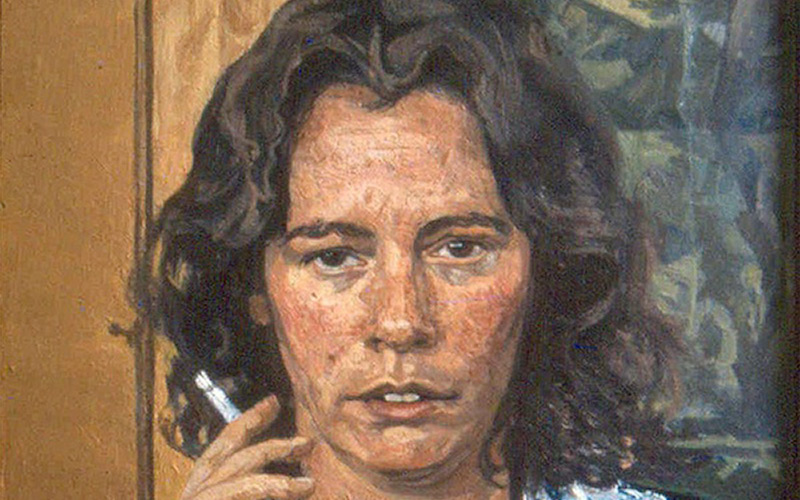 painting by John Wonnacott features a young woman with dark brown hair smoking a cigarette and looking at the viewer indifferently against a simple wooden background