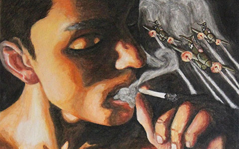 painting showing a large model smoking a cigarette with fighter planes flying out of the smoke in the background
