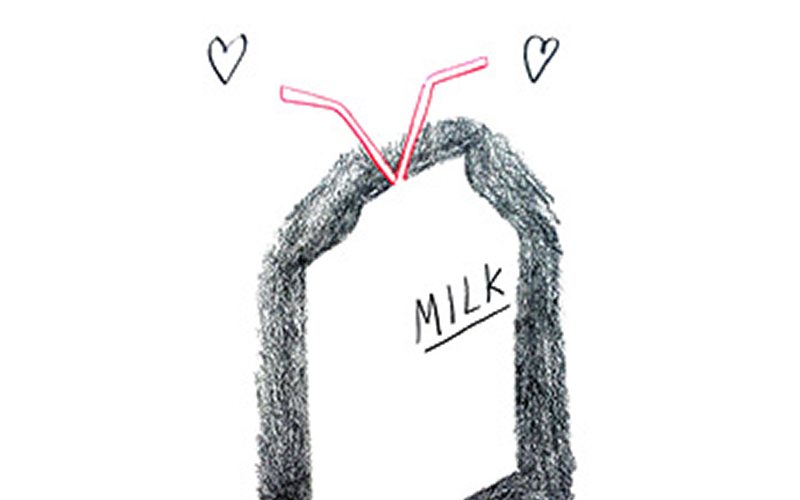 illustration of a milk carton in a flat style with thick black shading around the edge against a white background and simple love hearts at the end of the straws