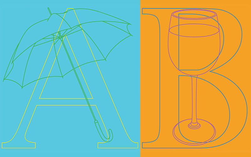 printed design features two images; the left has a vibrant blue background with thin green umbrella design following the contours of a large A and the right has a vibrant orange background with a wine glass following the contours of a large B