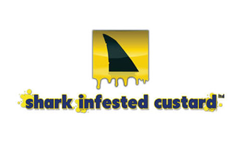 logo shows yellow gradient square with black sharks fin shape and title Shark Infested custard with yellow splotches behind