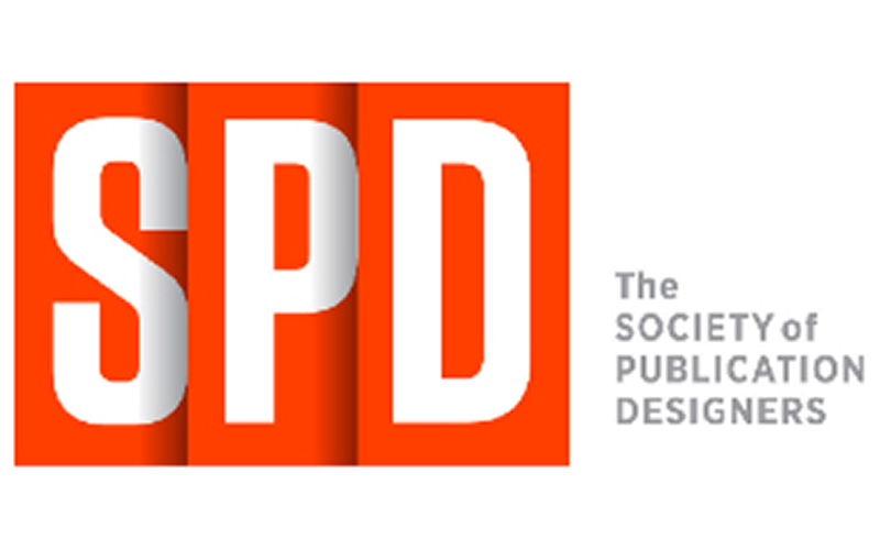 logo for the society of publication designers shows red folded effect overlapping with the letters SPD and the title on the right side