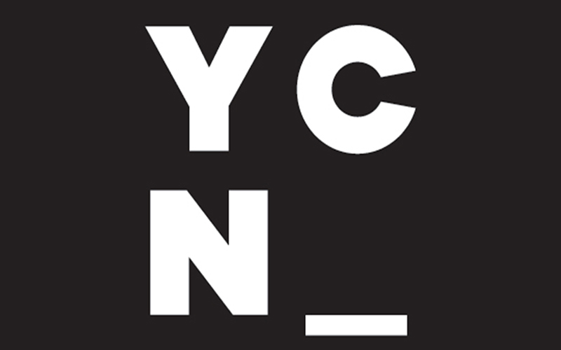 logo for YCN depicts black background with large white letters with Y C above and N and an underscore below