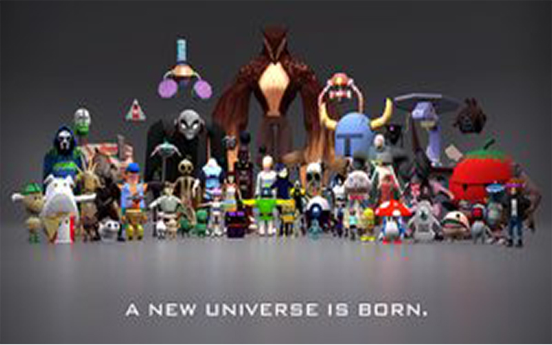 3D render of game models standing in lineup set out like a movie poster with title a new universe is born underneath