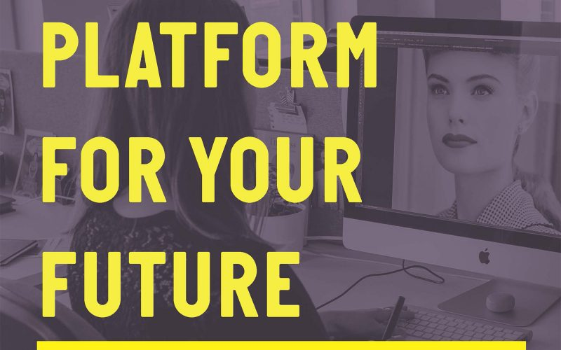 logo for Platform has a large font yellow title reading Platform For Your Future with a purple-tinted photo of a woman working on a computer with a drawing tablet