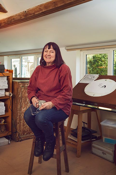 Professor of Animation Suzie Hanna sits in her home-made studio in Norwich