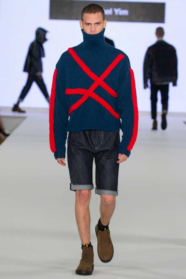 Rachel Yim - Image of a male model wearing an over sized jumper and shorts
