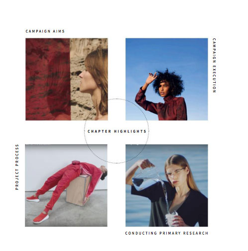 Olivia Harrould - Grid of images featuring 4 models in various poses wearing bold coloured garments