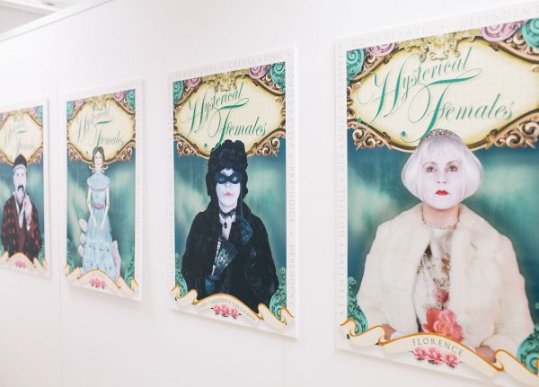 Tracy Satchwill - Image of a line of posters featuring women and the title Hysterical Female