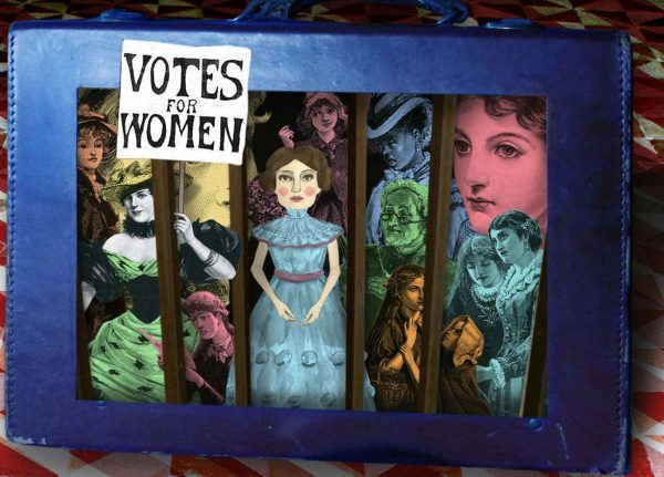 Tracy Satchwill - Image of a college of cut out dolls and the title Votes for Women